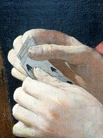 The Card Sharp with the Ace of Diamonds - Détail du jeu du jeune homme