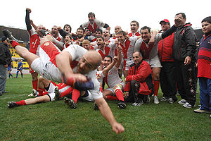 Georgia national rugby union team - Georgian team celebrating victory