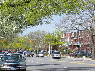 Marine Park - Gerritsen Avenue, a major traffic corridor in the neighborhood
