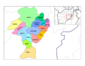 English: Map of the districts of Ghazni provin...