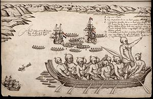 New Zealand art - A view of the Murderers' Bay, as you are at anchor here in 15 fathom, Isaac Gilsemans, 1642
