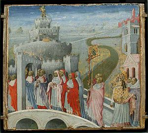 Station days - Gregory the Great set the classic order of churches for the Lenten station days in the sixth century. (The Procession of Saint Gregory to the Castle Sant'Angelo, c. 1465.)