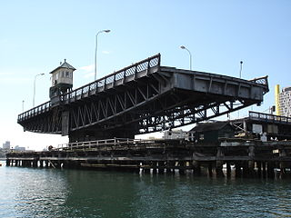 Glebe Island Bridge Swing Allan truss road bridge in Sydney, Australia