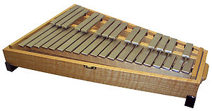 Most orchestral glockenspiels are mounted in a case.