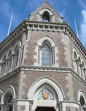 John Hayward (architect) - Image: Gothic revival bank Jersey architecture