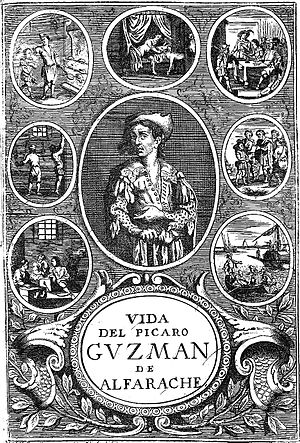 Mateo Alemán - Frontispiece from a 17th-century edition of Guzmán de Alfarache, Antwerpen, 1681