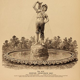 The Boy with the Leaking Boot - Original historic print on the J. L. Mott Iron Works 1925's fountain's Catalog used by Santa Clara council (Cuba) when they selected the fountain for the city's main square.