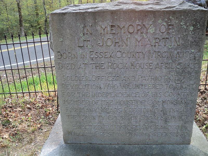 File:Gravestone Lt John Martin Rock House Stokes County.JPG