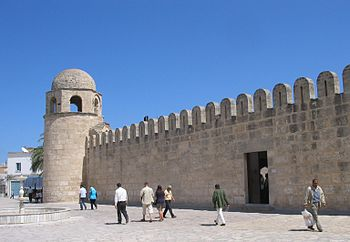 Corner tower of the Great Mosque of Sousse in Tunisia