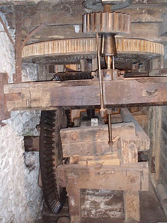 Glossary of mill machinery - Pit Wheel, Great Spur Wheel, Stone Nut (Underdrift stones)