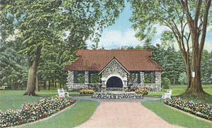 Greeley Park - Entrance to Greeley Park, from a c. 1920 postcard