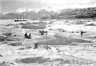 Schooner A.W. Greely - Schooner A.W.Greely frozen in Foulke Fiordat near Etah, Greenland, 1938