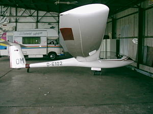Turbulator - Grob G 102 Astir prototype with turbulator Tape under the wing