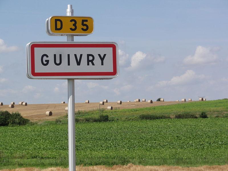 Guivry (Aisne) city limit sign