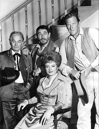 Gunsmoke - Clockwise from top: Ken Curtis (Festus), James Arness (Matt), Amanda Blake (Kitty), and Milburn Stone (Doc) in 1968