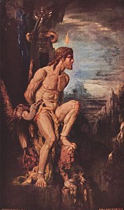 Prometheus (1868 by Gustave Moreau). The myth of Prometheus was first attested by Hesiodus and then constituted the basis for a tragic trilogy of plays, possibly by Aeschylus, consisting of Prometheus Bound, Prometheus Unbound and Prometheus Pyrphoros