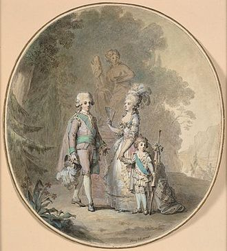 Sophia Magdalena of Denmark - Cornelius Høyer: Gustav III, Queen Sophie Magdalene and Crown Prince Gustav Adolf in Hagaparken 1784–1785