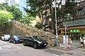 HK 天后 Tin Hau 留仙街 Lau Sin Street 英皇道 King's Road October 2018 IX2 stone stairs n restaurant green sign.jpg
