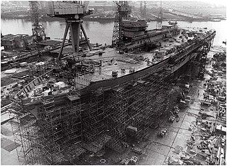 HMS Ark Royal (R07) - HMS Ark Royal at Wallsend during construction, 10 March 1981