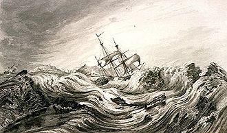 David Buchan - HMS Dorothea shown in The Expedition Driven into the Ice, 30 July 1818 by Frederick William Beechey