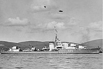 HMS MARNE secured to a buoy