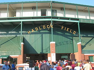 The sign above the main entrance to Hadlock Fi...