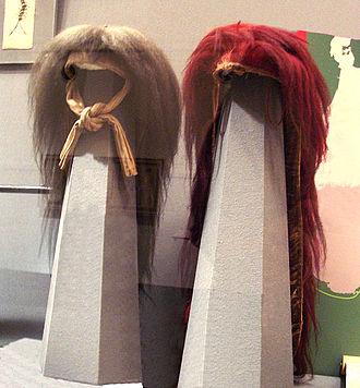 Shaguma - Haguma (left) and shaguma (right) headdress
