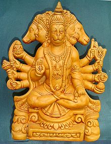 A terracotta sculpture of Panchamukha Sri Hanuman