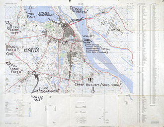 U.S. prisoners of war during the Vietnam War - Shortly after the war, ex-POW Mike McGrath annotated this detailed map of Hanoi to show the location of prisons. He did it so he would not forget where the camps were.