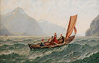 Hans Dahl - Fiord with sailing boat.jpg