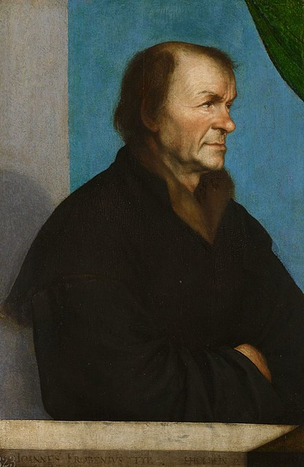Portrait of Johann Froben by Hans Holbein the Younger, 1522–23. Froben commissioned many book illustrations from Holbein.