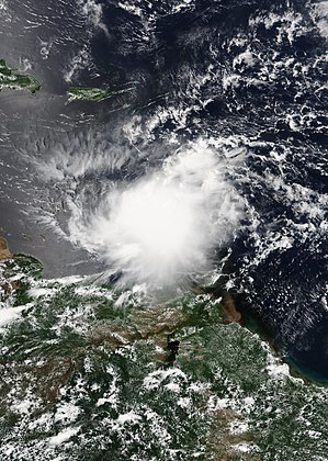 Hurricane Harvey - Tropical Storm Harvey in the Eastern Caribbean on August 18