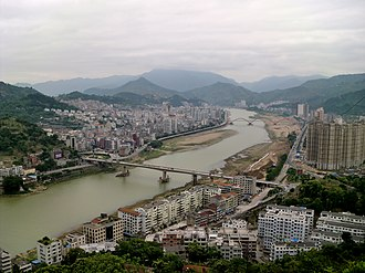 Qingtian County - Hecheng (seat of Qingtian), from the north-west, in 2011