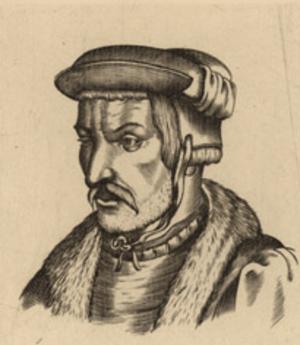 Heinrich Cornelius Agrippa - Woodcut print portrait of Agrippa