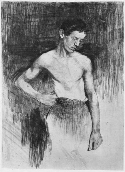 Heinrich Seufferheld Junger Schmied opus 27,1 1894 - Strichradierung