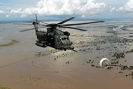 A US helicopter flying over the flooded Limpopo River during the 2000 Mozambique flood. Helicopter over flooded Central Mozambique.jpg