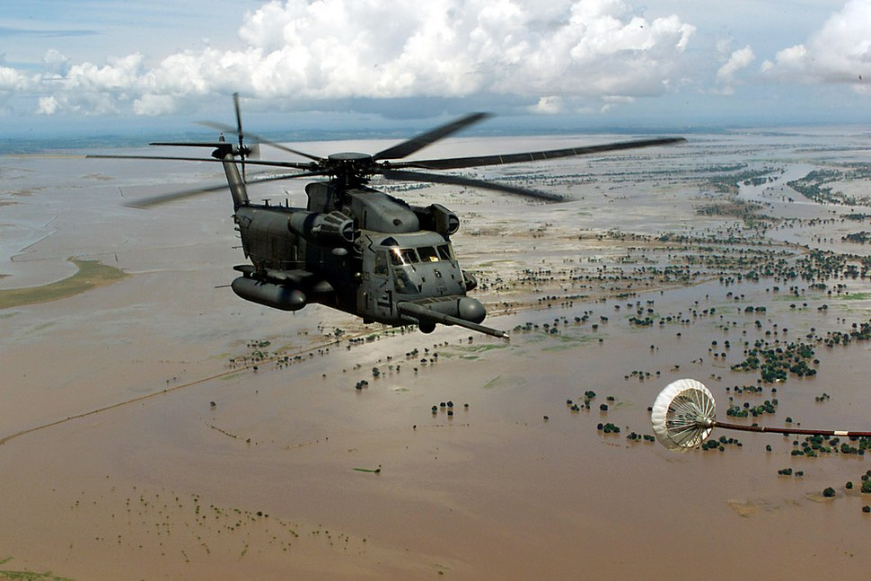 Helicopter over flooded Central Mozambique