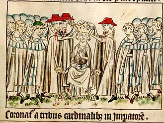 Henry VII, Holy Roman Emperor - The Coronation of Henry VII by three cardinals.