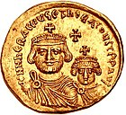 Solidus with the image of ہرقل (r. 610-641)، with his son Heraclius Constantine۔ (see Byzantine insignia) of Byzantine Empire