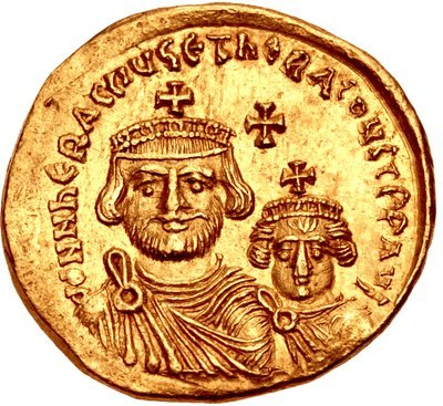 Solidus with the image of Heraclius (r.610–641), with his son Heraclius Constantine. (see Byzantine insignia) of Byzantine Empire