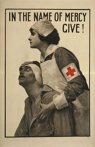 Geneva Conventions - Red Cross poster from the First World War.