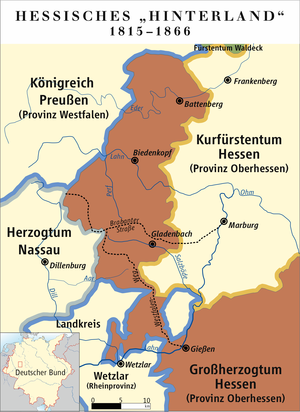 Hessian Hinterland - The Hessian Hinterland (without the exclave of Vöhl and Itter) 1815–1866