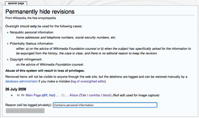 An example of the Hide Revision interface.