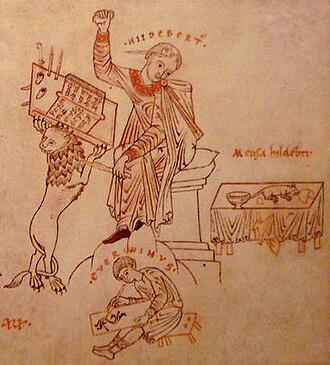 Hildebert and Everwin - Hildebert cursing a mouse, Everwin (Everwinvs) writing.