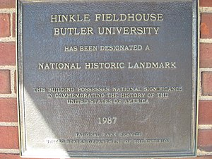 Hinkle Fieldhouse - National Historic Landmark Plaque