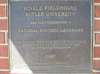 Hinkle Fieldhouse - National Historic Landmark Plaque