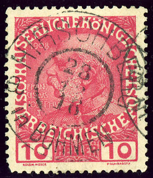 Doksy - Austrian Jubilee stamp, cancelled HIRSCHBERG IN BÖHMEN during WWI