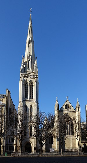 American Cathedral in Paris - The bell tower, among the tallest in Paris