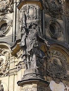 Scultura barocca del XVIII secolo di San Maurizio nella Colonna della Santissima Trinità di Olomouc, a quei tempi una città dell'Impero Austriaco, oggi in Repubblica Ceca.