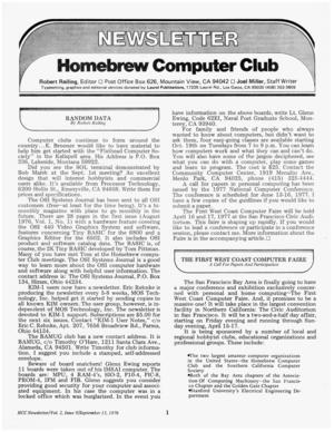 English: Homebrew Computer Club Newsletter, Vo...